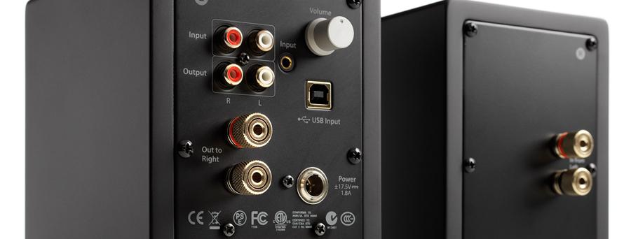 paire d 39 enceintes compactes amplifi es avec dac usb. Black Bedroom Furniture Sets. Home Design Ideas