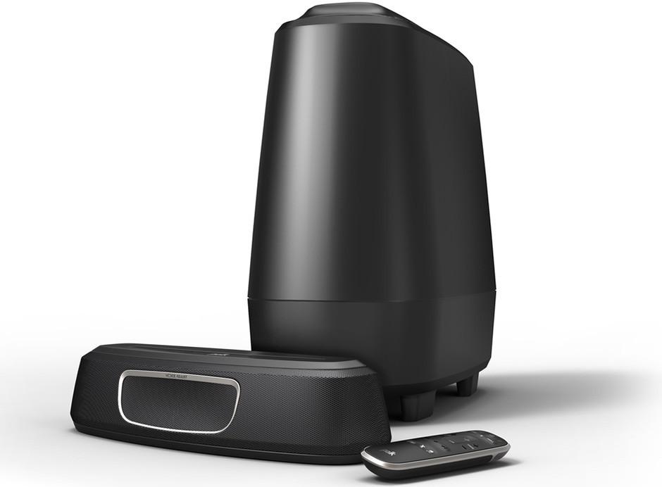 barre de son tv ultra compact 2 1 sans fil et caisson de graves. Black Bedroom Furniture Sets. Home Design Ideas