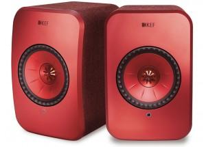KEF LSX Wireless Rouge - Enceintes amplifiées avec lecteur réseau intégré WiFi, UPnP / DLNA, AirPlay 2 et Bluetooth