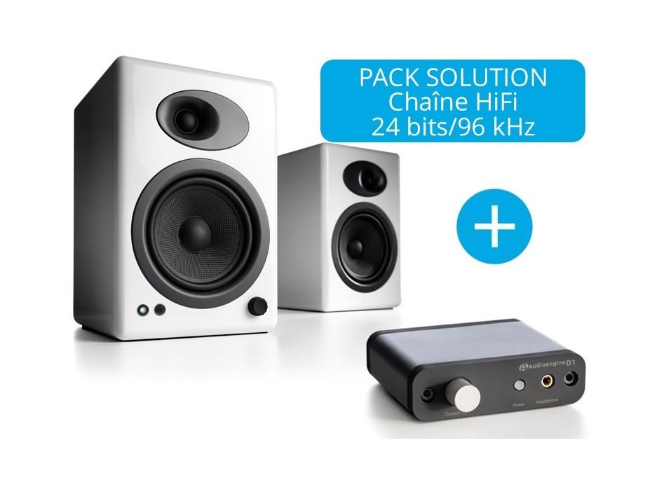 Enceintes amplifiées Audioengine A5+ avec carte son CD D1 chaine HiFi haute fidélité