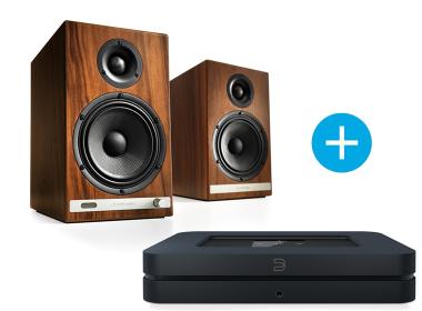 Bluesound NODE 2 noir et Audioengine HD6 bois