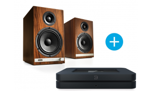 Bluesound NODE 2i noir et Audioengine HD6 bois