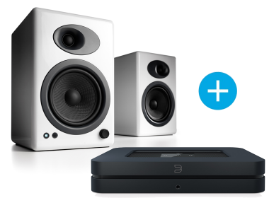 Bluesound NODE 2  et Audioengine A5+ blanc