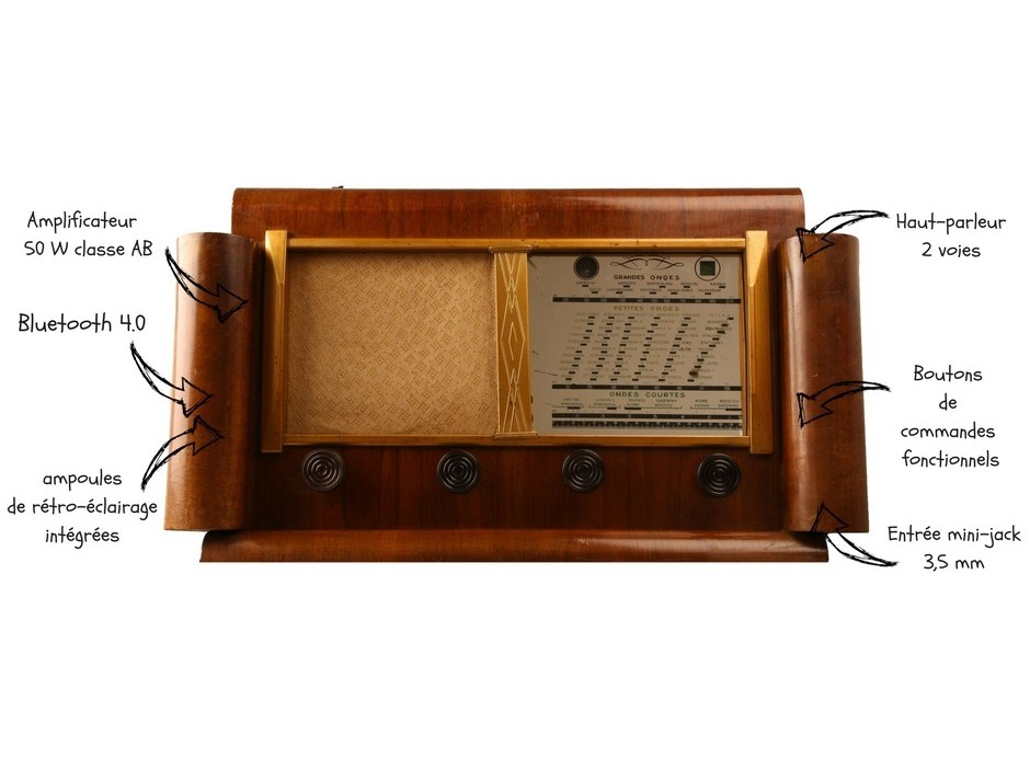 poste de radio bluetooth vintage. Black Bedroom Furniture Sets. Home Design Ideas