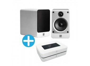 Q Acoustics Concept 20 et Bluesound Powernode 2i blanc