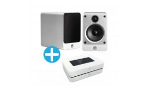 Q Acoustics Concept 20 et Bluesound Powernode 2i blanc