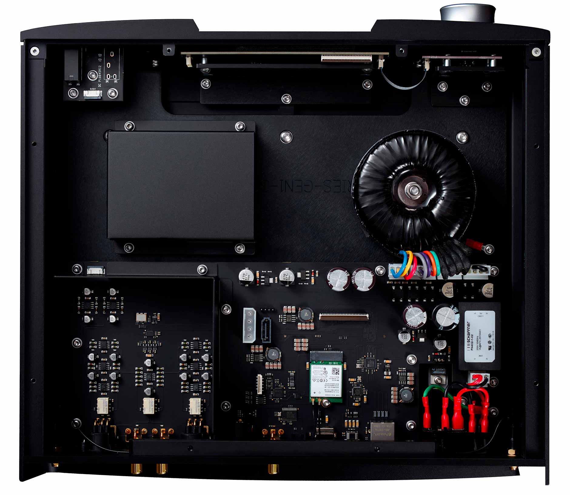 Un lecteur réseau audio avec DAC intégré et composants de qualité audiophile : horloge de grande précision, mémoire tamponn alimentation linéaire et emplacement pour disque dur ou disque à mémoire SSD