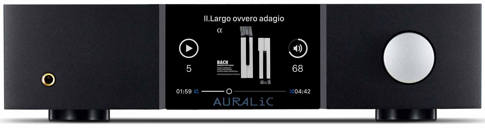 La face avant du lecteur Auralic Altair G1 avec la sortie casque 6,5 mm, l'écran haute définition de 10 cm et molette de contrôle