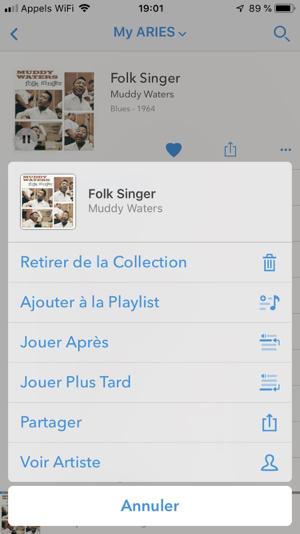 Application Lightning DS en français pour les lecteurs Auralic : toutes les actions disponibles sur un album et un artiste (fichiers ou service de streaming)
