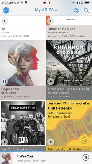 Application Lightning DS : navigation dans les albums du service de musique en ligne Qobuz