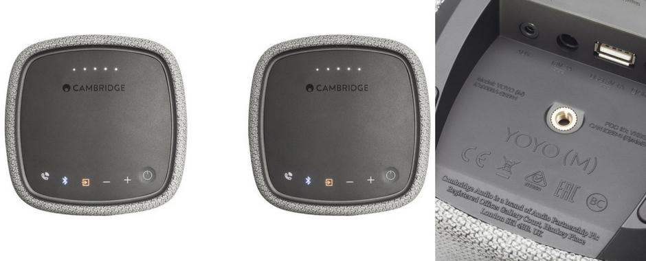 Cambridge YOYO (M) : pilotage sur les deux enceintes, connectiques Bluetooth ou mini-jack analogique, port USB de recharge d'appareils mobiles