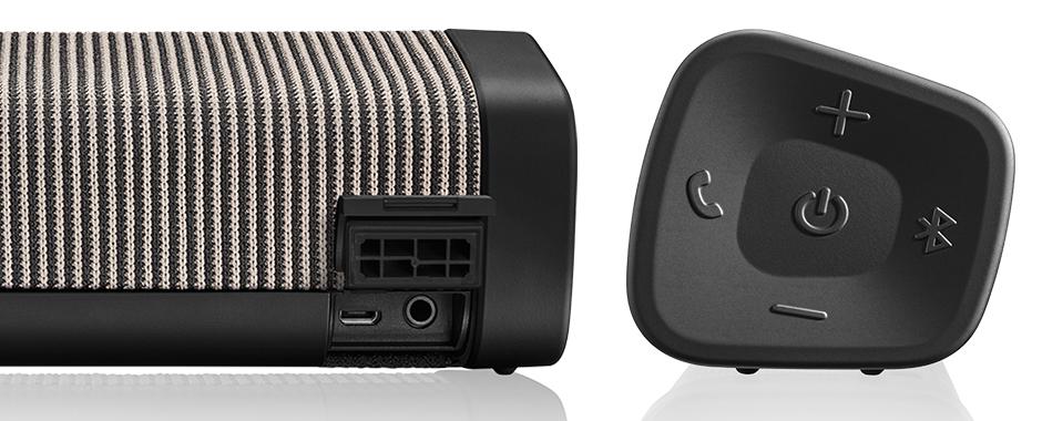 Denon Envaya Pocket DSB-50BT Noir : Entrée filaire analogique mini-jack et boutons de contrôle du volume, de la fonction mains libres, de l'appairage Bluetooth et de la mise en route.