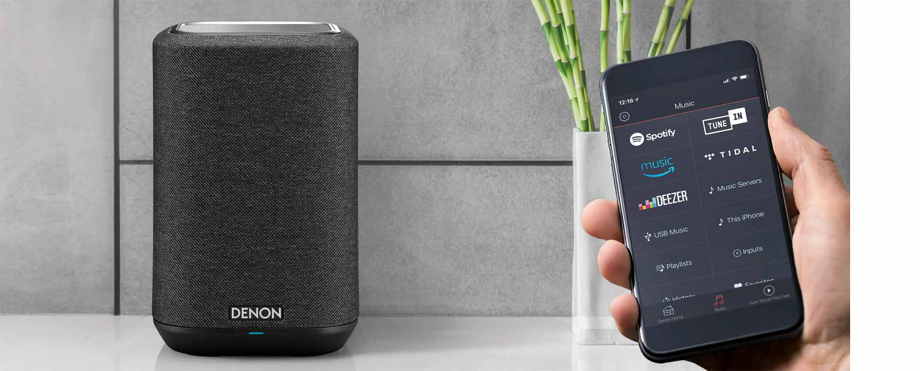 Enceinte connectée WiFi, AirPlay 2 et Bluetooth avec application HEOS pour le multiroom audio