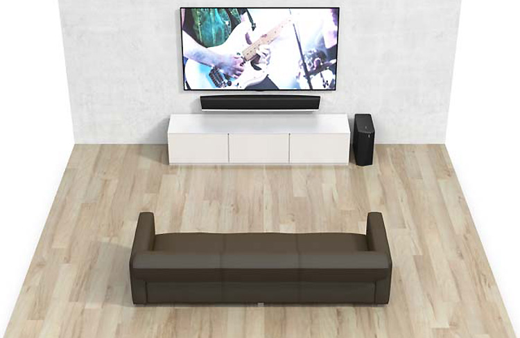 home cin ma sans fil denon heos 5 1 avec barre de son caisson de basses et voies arri res. Black Bedroom Furniture Sets. Home Design Ideas