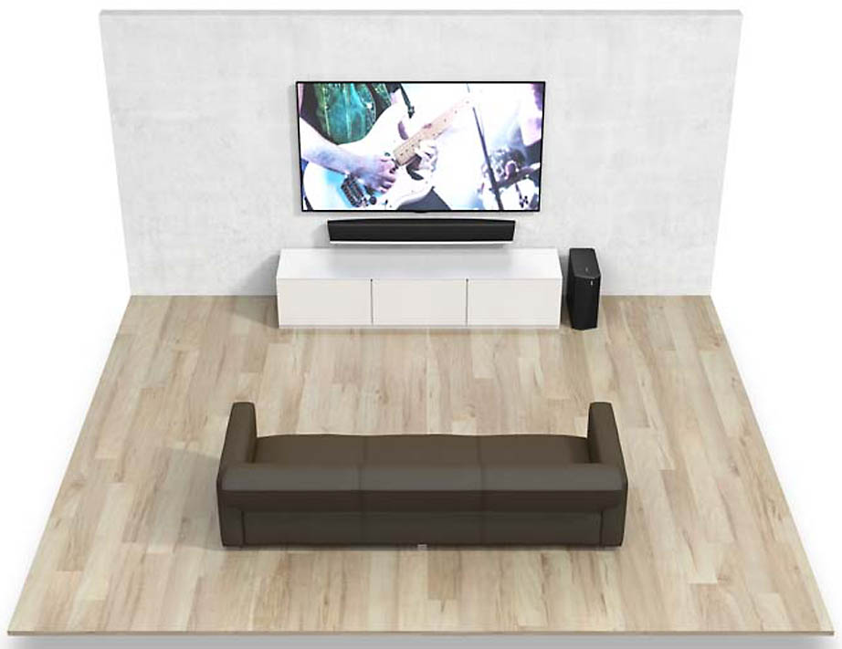 home cin ma sans fil denon heos 5 1 avec barre de son caisson de basses et voies arri res. Black Bedroom Furniture Sets. Home Design Ideas