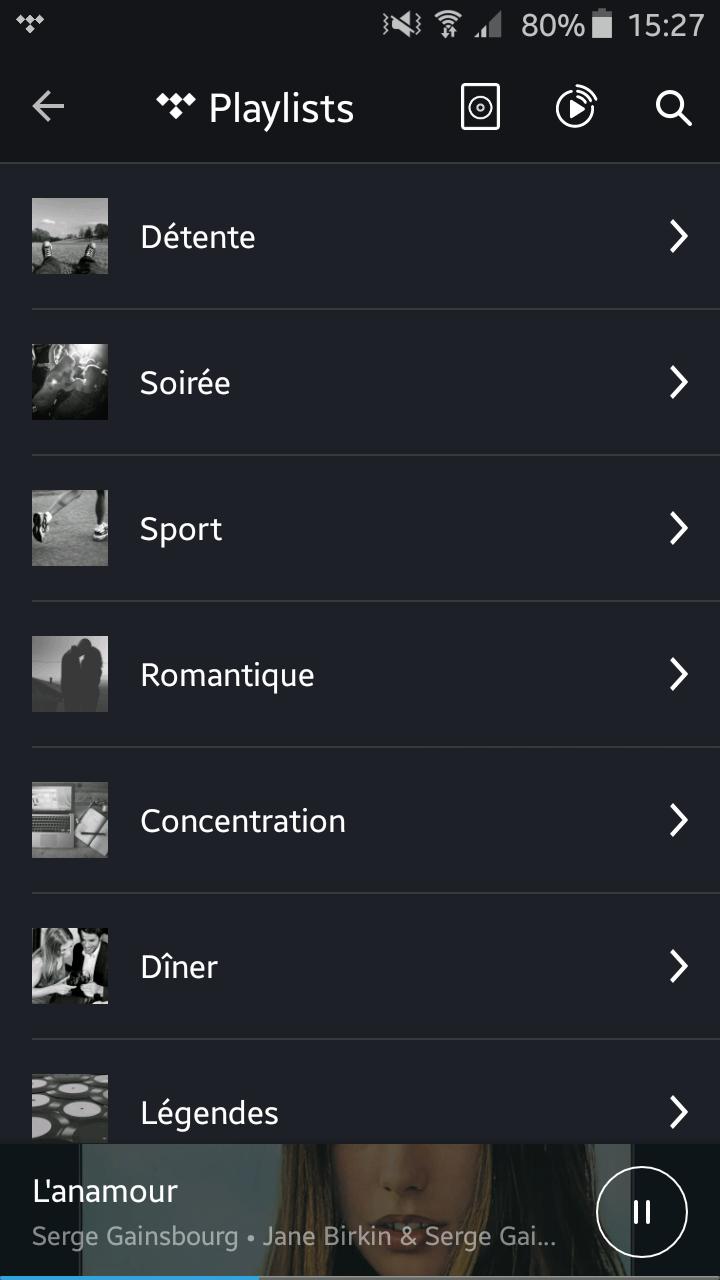 Application KEF Stream avec Tidal : Trouvez les listes de lectures qui correspondent à vos goûts, cinéma & TV, Détente, Soirée, Sport...