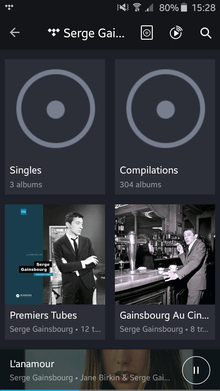 Application KEF Stream avec Tidal : Résultats d'une recherche sur le service de streaming, triés par compilation, artiste, album, titres