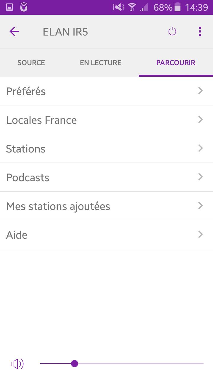 Pure Elan IR5 depuis le smartphone sur UNDOK : parcourir les stations de radio et podcasts Internet