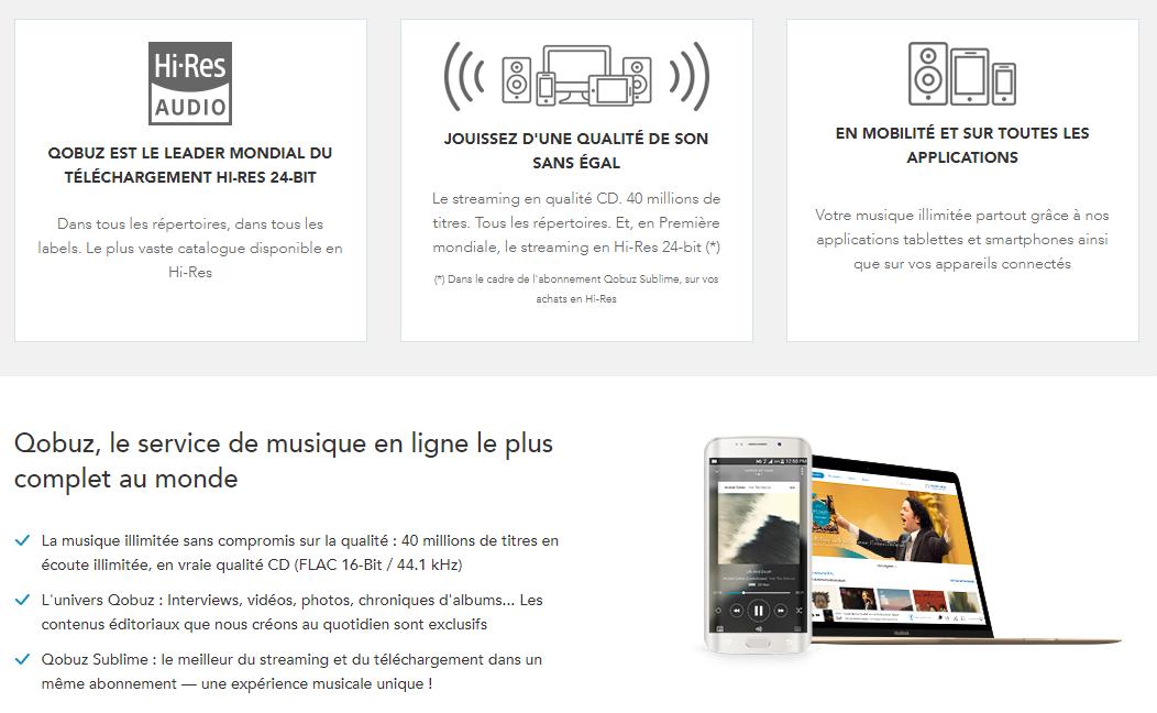 Service de musique en ligne en qualité CD 16 bits / 44 kHZ