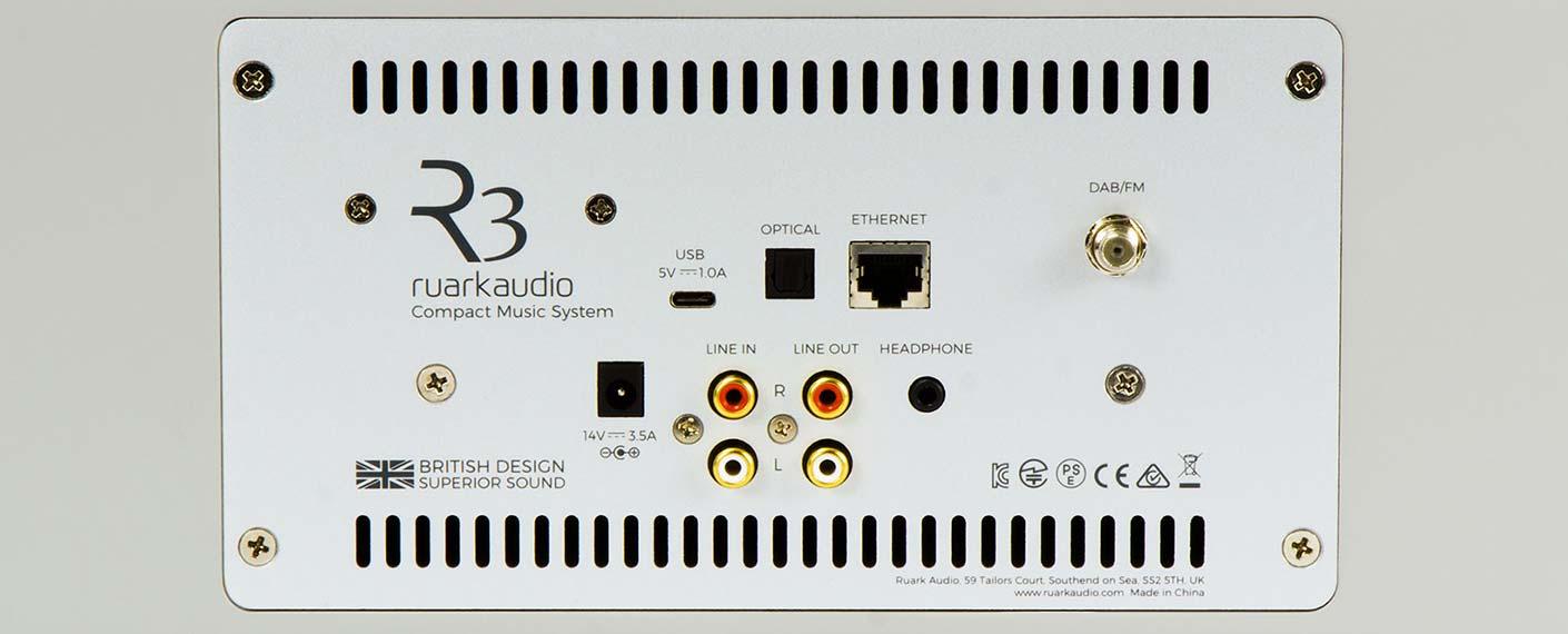 Toutes les connectiques audio de la mini-chaine HiFI connectée Ruark audio R3