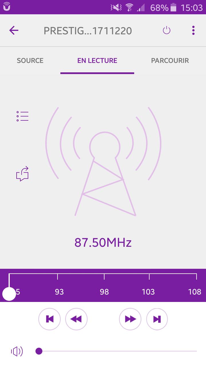 Sonoro PRESTIGE depuis le smartphone sur UNDOK :  recherche précise de radio FM