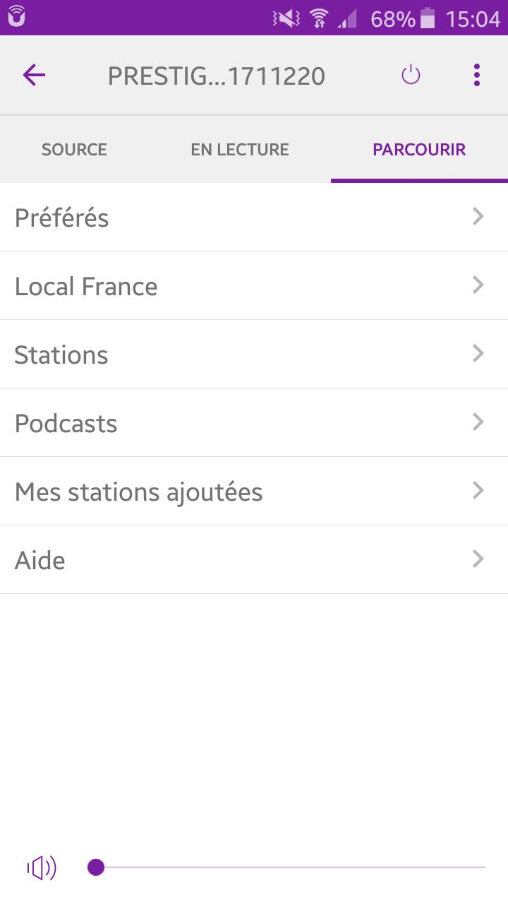 Sonoro PRESTIGE depuis le smartphone sur UNDOK : écoute des stations et podcasts de radio